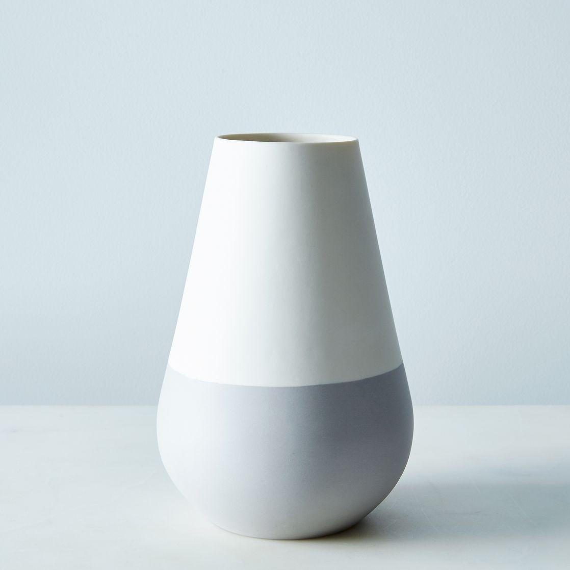 white  gray ceramic vase  vase  tabletop  hawkins new york  - rounded ceramic vase