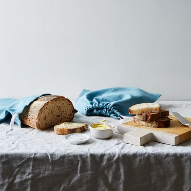 Nordic Blue Linen Bread Bags (Set of 2)