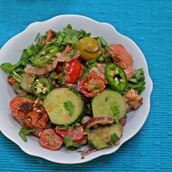 Chicken Tikka Salad with Cucumbers and Tomatoes