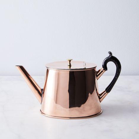 Vintage Copper English Elegant Teapot, Mid 19th Century