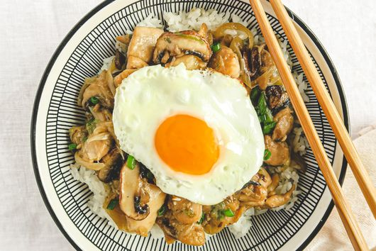 Mushroom Chicken Stir Fry (Rice Bowl)