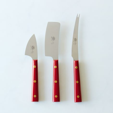 Berti Red-Handled Italian Cheese Knives (Set of 3)