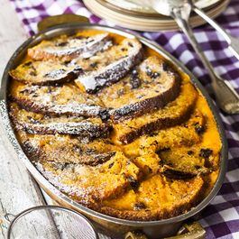 sweet potato and chocolate panettone bread and butter pudding