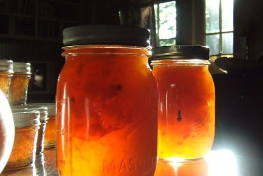 Spiced Peach and Nectarine Jam with Candied Ginger
