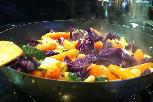 Lemon Ginger Carrots, Cabbage and Zucchini with Cannellini beans