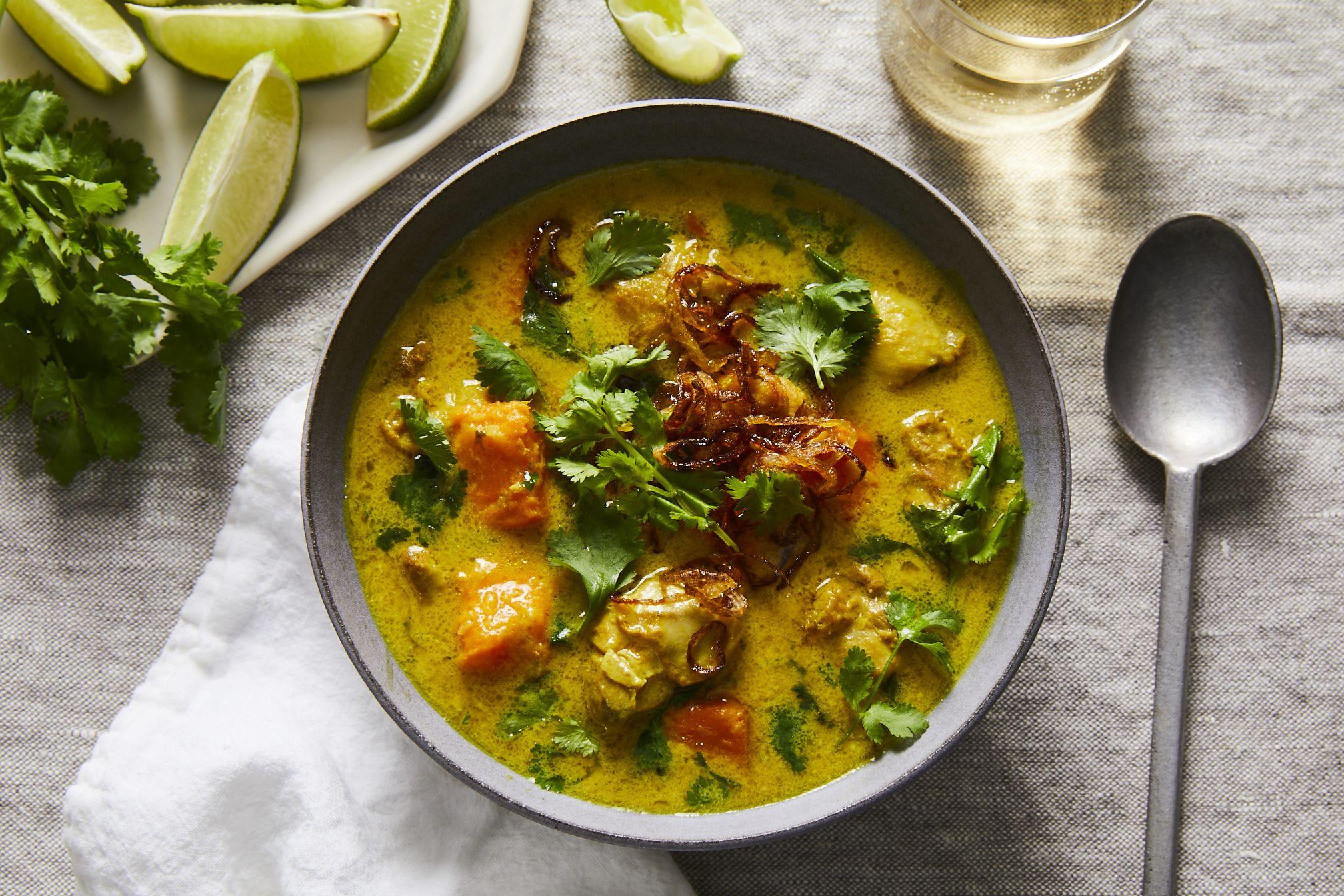 Burmese Inspired Chicken Braised In Coconut Milk Turmeric With Sweet Potato