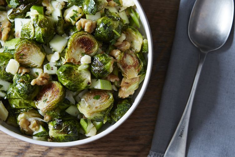 Roasted Brussels Sprouts with Apple, Chile, and Walnuts