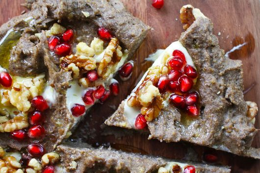 Buckwheat Polenta with Walnuts, Pomegranate + Mascarpone