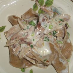 Porcini pasta with smoked chicken