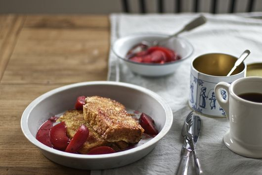 French Toast with Miso Sugar and Umeboshi Plum Compote