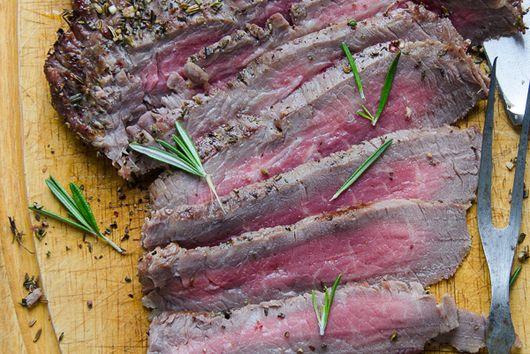 Herb and peppercorn crusted flank steak