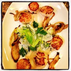 Seared Scallops with Fennel, Celery Leaf & White Bean Vinaigrette