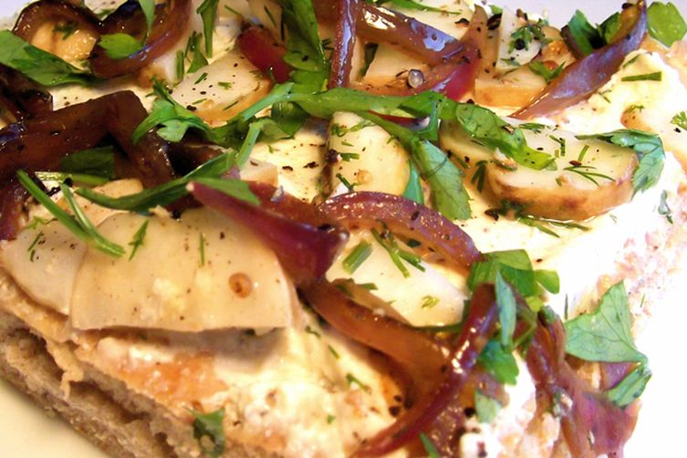 Marinated Sunchoke and Caramelized Onion Focaccia