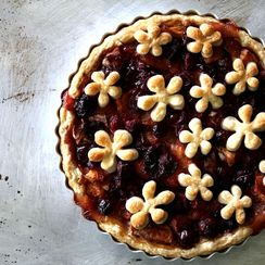 Caramelized Peach and Cranberry Tart