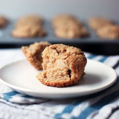 Warmly Spiced, Tahini-Spiked, Not-Too-Sweet Apple Muffins