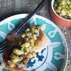 Hawaiian Salmon Cakes with Pineapple Salsa