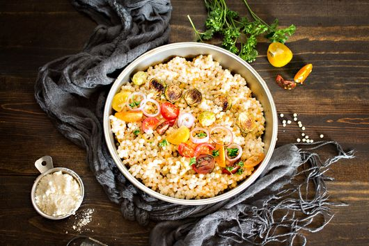 Cheesy Couscous with Roasted Brussel Sprouts