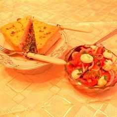 Corn and Tomato Crustless Quiche with Fresh Tomato Salad