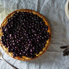 Ricotta Custard Blueberry Tart with Nut Crescent Crust