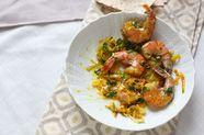 Maygu Sabzi (Persian-Style Saffron Shrimp with Leeks & Herbs)