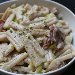 Pasta with Leek, Pancetta, and Cashew Cream