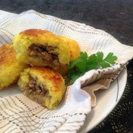 Spiced Beef Filled Rice Patties