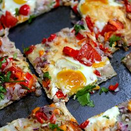 Sheet Pan Masala Egg Confetti Naan Pizza
