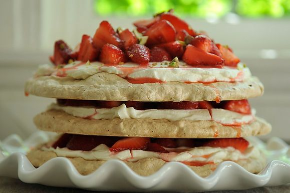Pistachio Meringue Stack with Rose Cream and Strawberries by Heena