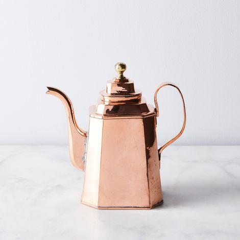 Vintage Copper English Octagonal Tea Kettle, Mid 19th Century