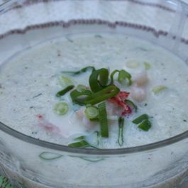 Cold Cucumber Soup with Lobster and Scallions