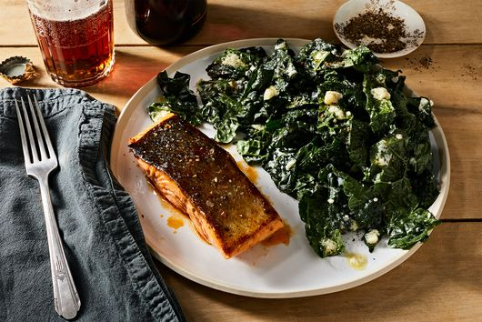 Buffalo-Glazed Salmon With Blue Cheese Kale Salad