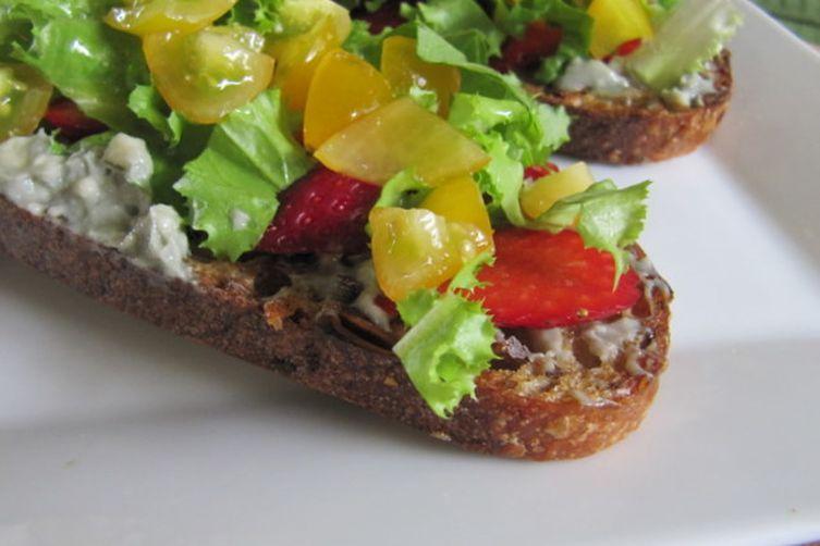Savoring Summer Tartine, with Cherry Tomato and Strawberry