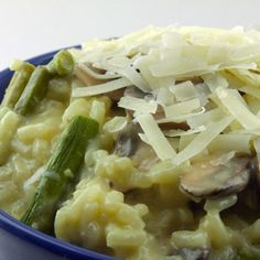 Gruyere Risotto with Asparagus and Mushrooms