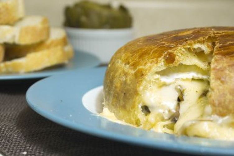 Caramelized Onion and Mushroom Stuffed Baked Brie