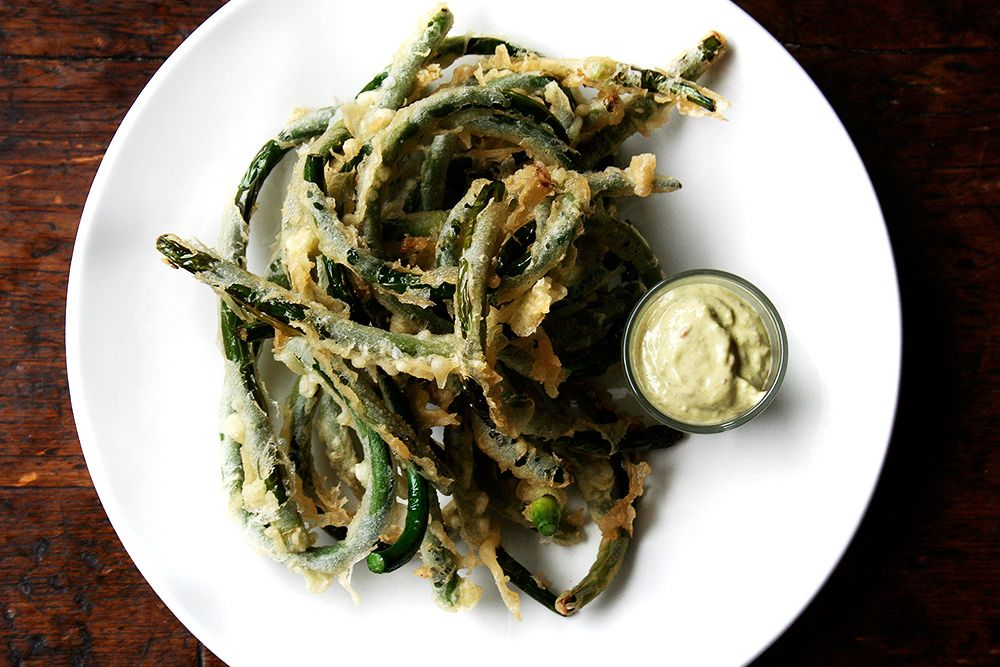 tempura garlic scapes