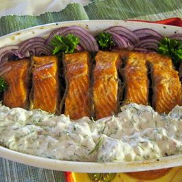 Salmon Roasted With Anchovies and Served with Anchovy Mayonnaise Tzatziki