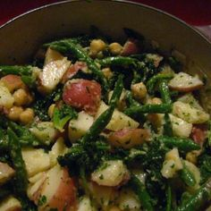 Warm Potato Salad with Kale and Green Beans and Miso Dressing