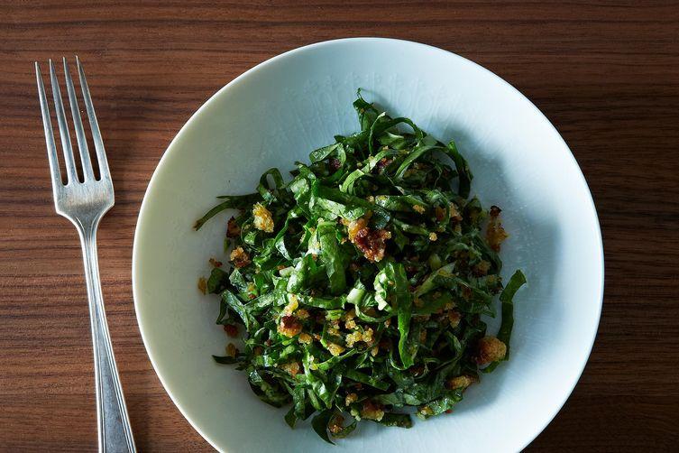 Chard Salad with Garlic Breadcrumbs and Parmesan