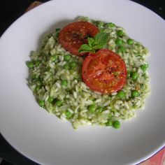 Mint and Green Pea Risotto, with Roasted Tomatoes