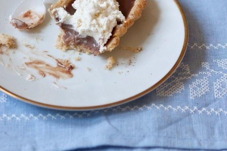 Milk Chocolate Nutmeg Tart with Hazelnut Crust