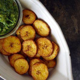 Salty Tostones with Basil Avocado Chimichurri
