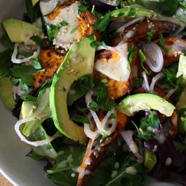 avocado & roasted sweet potato salad.