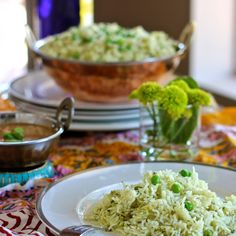 Green rice pulao