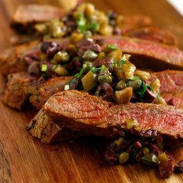 Grilled Flank Steaks with Sicilian Olive Tapenade