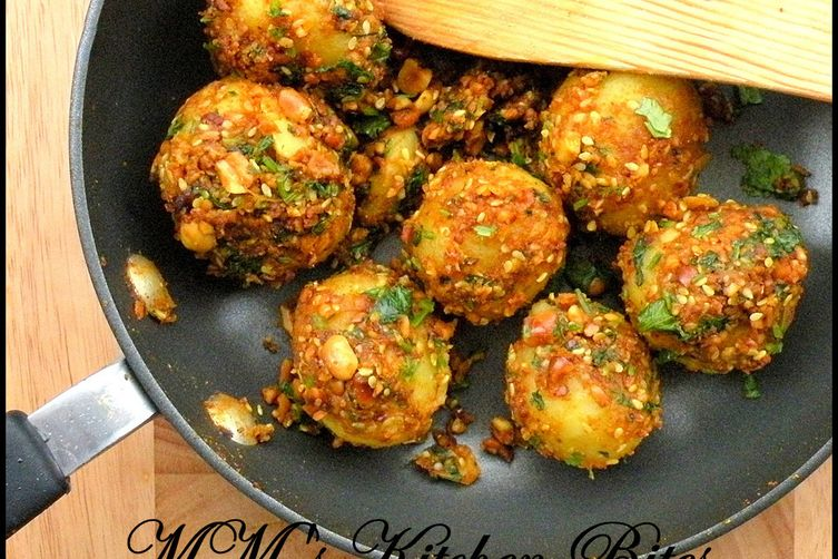 Gujrati Style Potatoes (Sesame and Peanut Coated Potatoes)