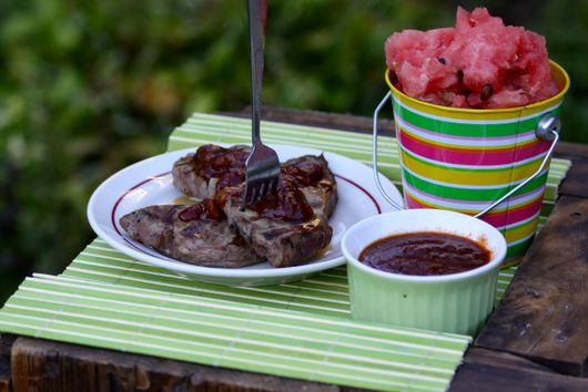 Sizzling Steaks with Watermelon BBQ Sauce