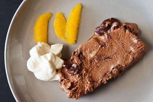 Bittersweet chocolate and orange semifreddo