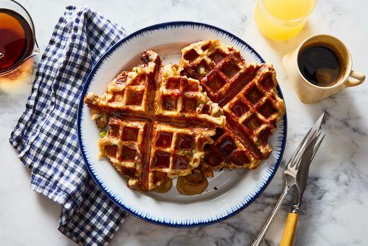 Cheesy Bread Pudding Waffles