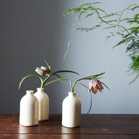 White Porcelain Bud Vases (Set of 3)