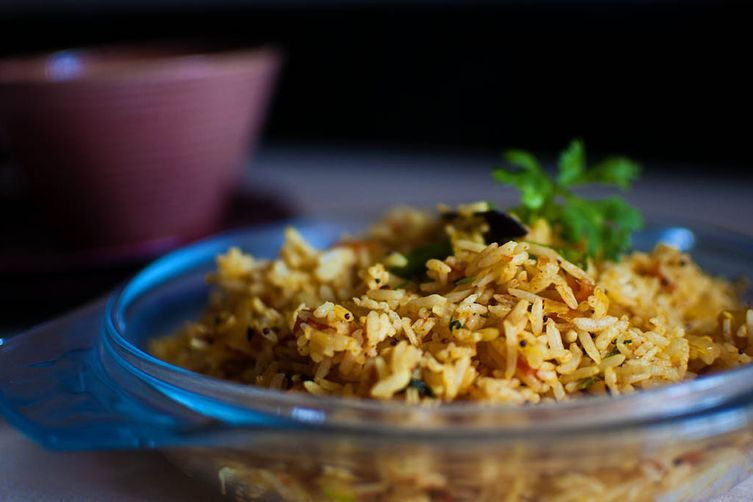 Tomato masala rice (to use up leftovers!)